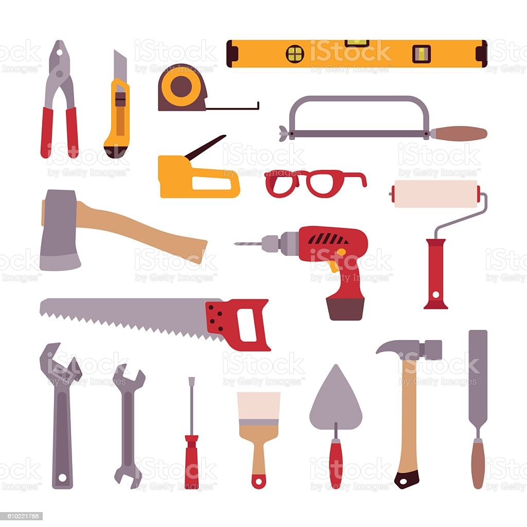 Set of construction tools vector art illustration