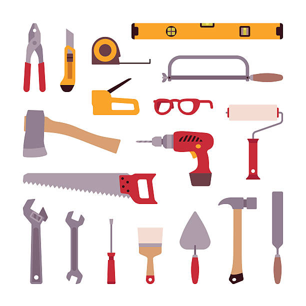 stockillustraties, clipart, cartoons en iconen met set of construction tools - saw