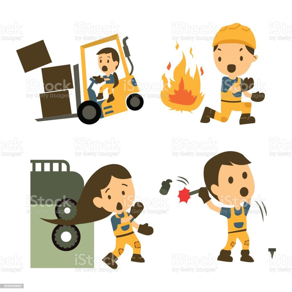Conjunto de trabalhador da construção civil, acidente de trabalho, segurança primeiro, saúde e segurança, ilustrador vetorial - ilustração de arte em vetor