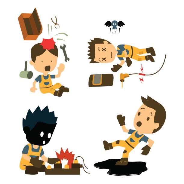 Set of Construction worker, Accident working, safety first, health and safety, vector illustrator vector art illustration