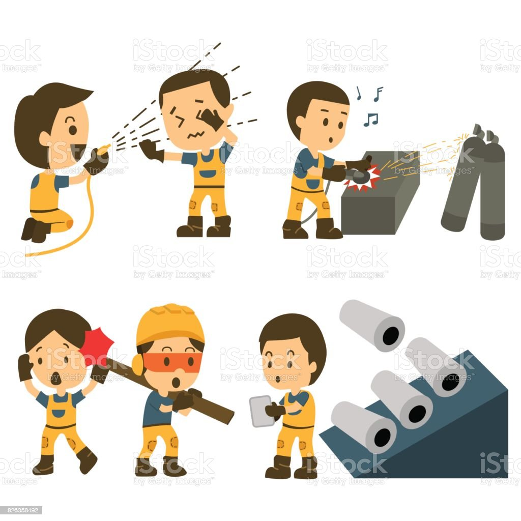 Conjunto De Trabajador De La Construcción Accidente De Trabajo ...