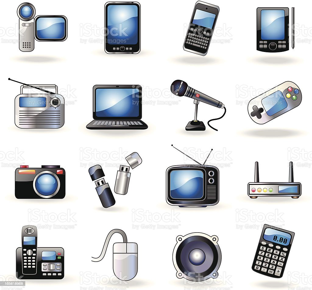 A set of consumer electronic related icons royalty-free stock vector art