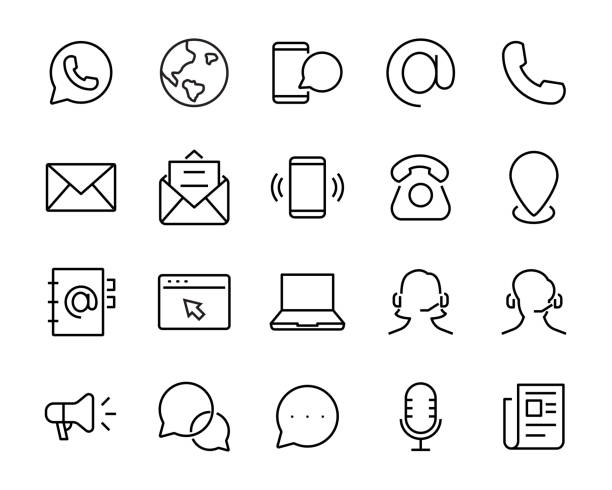 set of contact icon, such as address, phone, mail, social media - call center stock illustrations