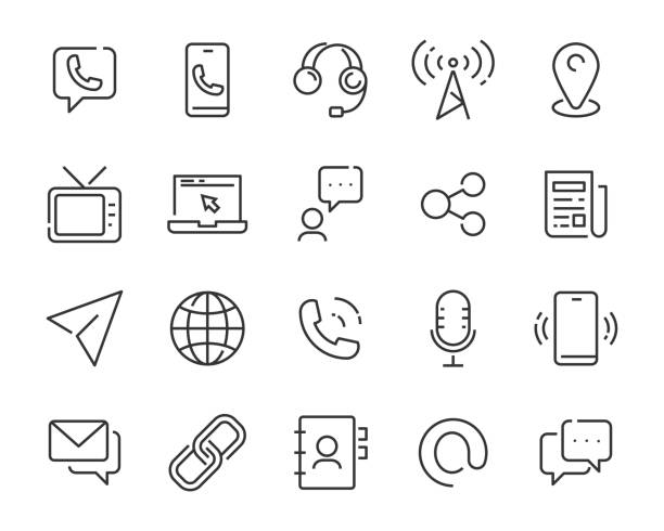 set of contact icons, address, phone - call center stock illustrations