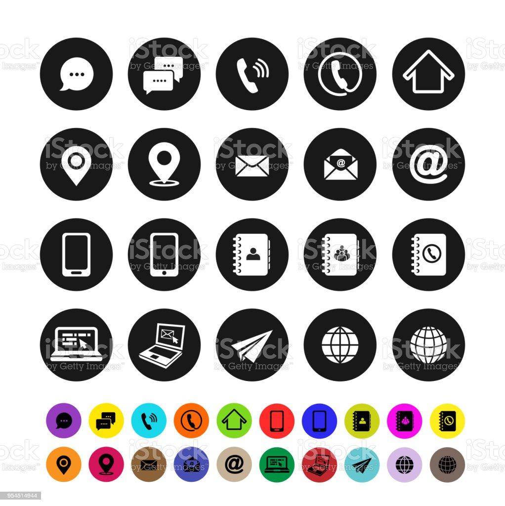 Conjunto de iconos de contacto. Diseño plano. Ilustración de vector. Aislado sobre fondo blanco - ilustración de arte vectorial