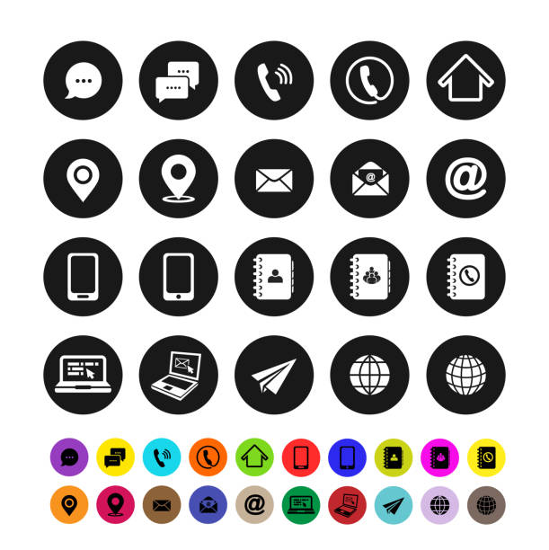 set of contact icons. flat design. vector illustration. isolated on white background - email icon stock illustrations, clip art, cartoons, & icons