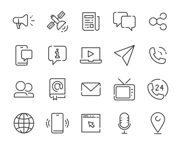 set of contact icons, phone, mail, address, support - call center stock illustrations
