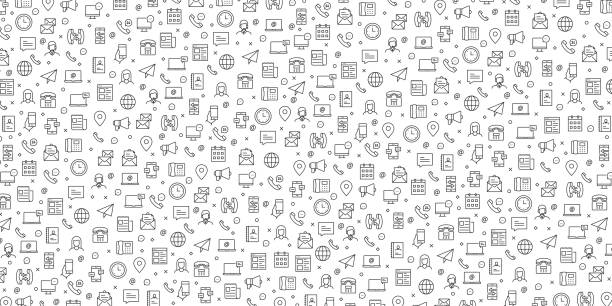 Set of Contact Us and Support Icons Vector Pattern Design Set of Contact Us and Support Icons Vector Pattern Design backgrounds icons stock illustrations