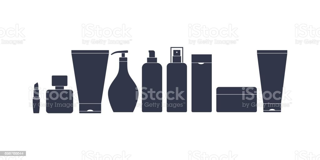 A set of containers for cosmetics. Black silhouette of cans and bottles vector art illustration