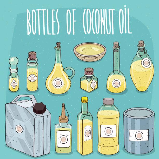 Contenedores con aceite de coco - ilustración de arte vectorial