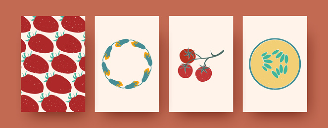 Set of contemporary art postcards with fruit, vegetal patterns