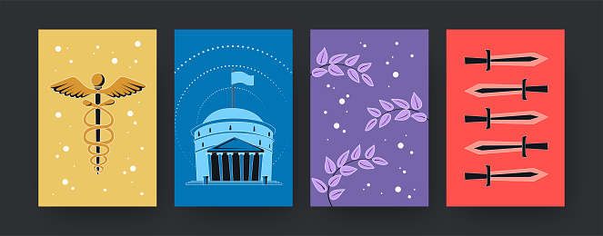 Set of contemporary art posters with ancient symbols of Rome