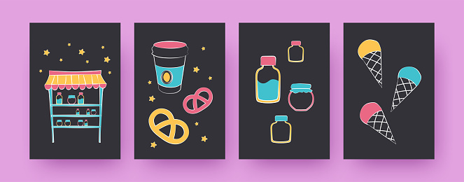Set of contemporary art posters with different desserts