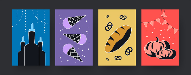 Set of contemporary art posters with different food products