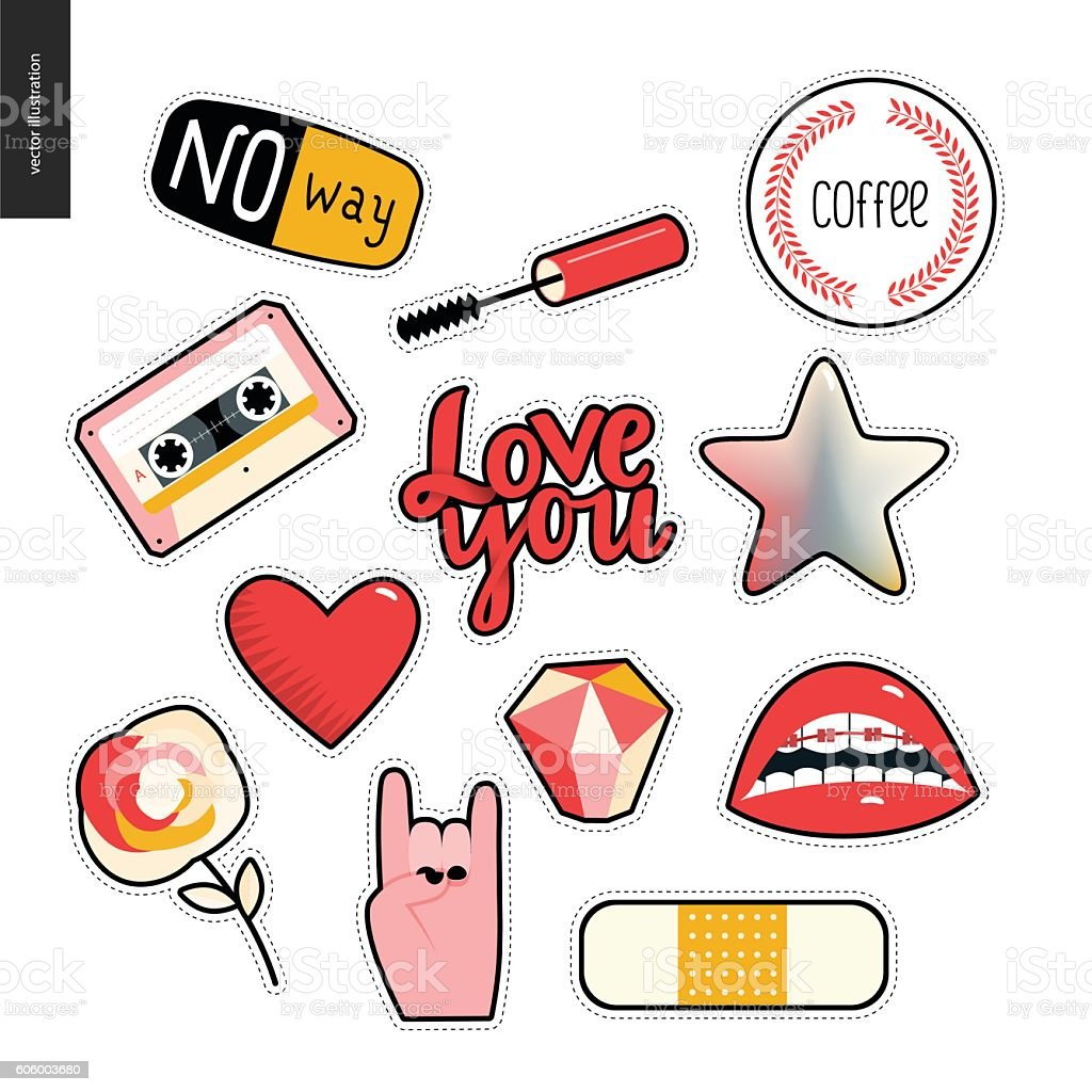 Set of contemporary girly patches elements vector art illustration