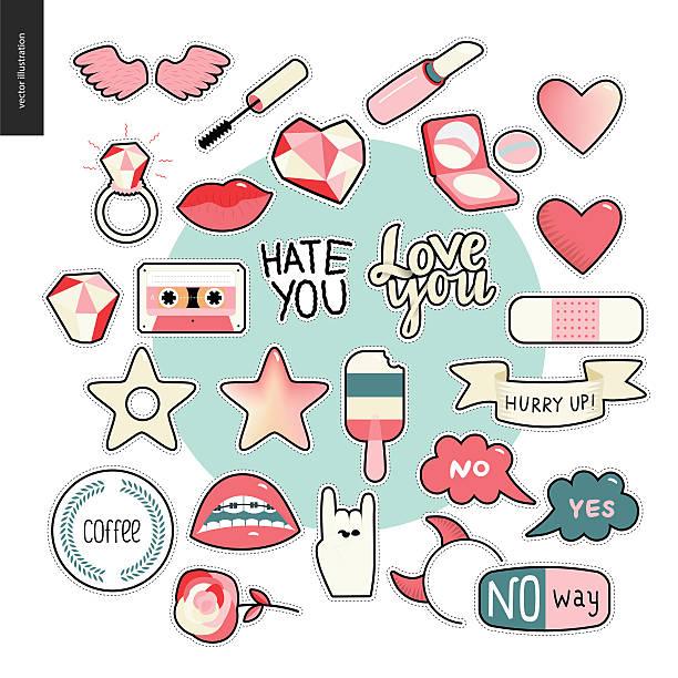 ilustrações de stock, clip art, desenhos animados e ícones de set of contemporary girly patches elements - nails ice cream