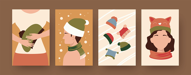 Set of contemporary posters people wearing caps and scarfs. Collection of winter hats, male and female characters vector illustrations. Fashion concept for designs, social media, invitation cards
