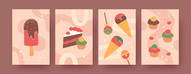 Set of contemporary posters with sweet treats