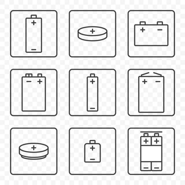 Set of contour battery icons. Vector on transparent background. Each icon in a separate frame. Set of contour battery icons. Vector on transparent background. Each icon in a separate frame battery stock illustrations