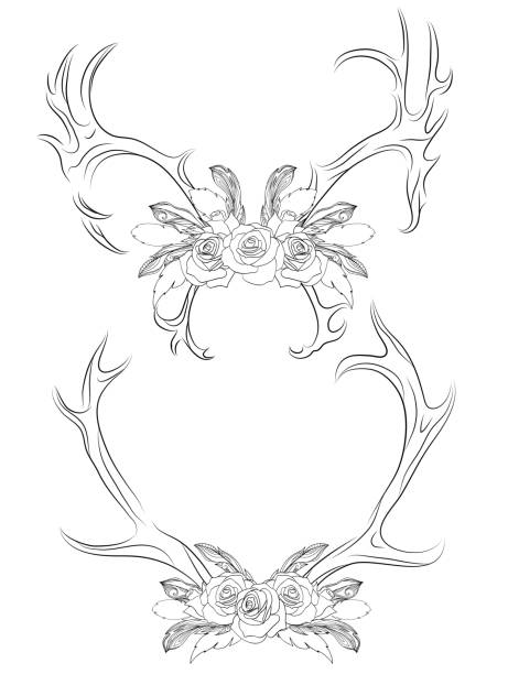 Best Deer Antlers With Flowers Illustrations, Royalty-Free
