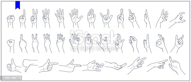 istock Set of contours of human hands, signs and gestures isolated vector illustrations on a white background 1250189770