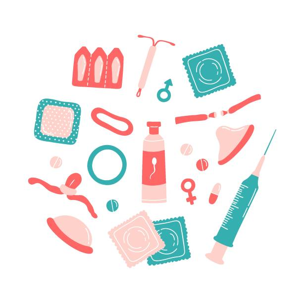 Set of contraception methods items - contraceptive patch, hormonal ring, intrauterine device, injection, pills, diaphragm, male condom, spermicides, surgical sterilization, emergency contraceptive Set of contraception methods items - contraceptive patch, hormonal ring, intrauterine device, injection, pills, diaphragm, male condom, spermicides, surgical sterilization, emergency contraceptive. spermicide stock illustrations