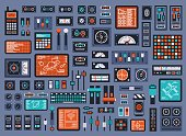 istock Set of control panel elements for spacecraft or technical industrial station 1199229844