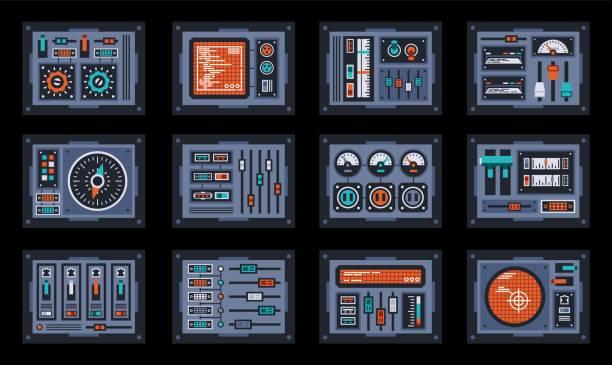 Bекторная иллюстрация Set of control panel elements for the spaceship