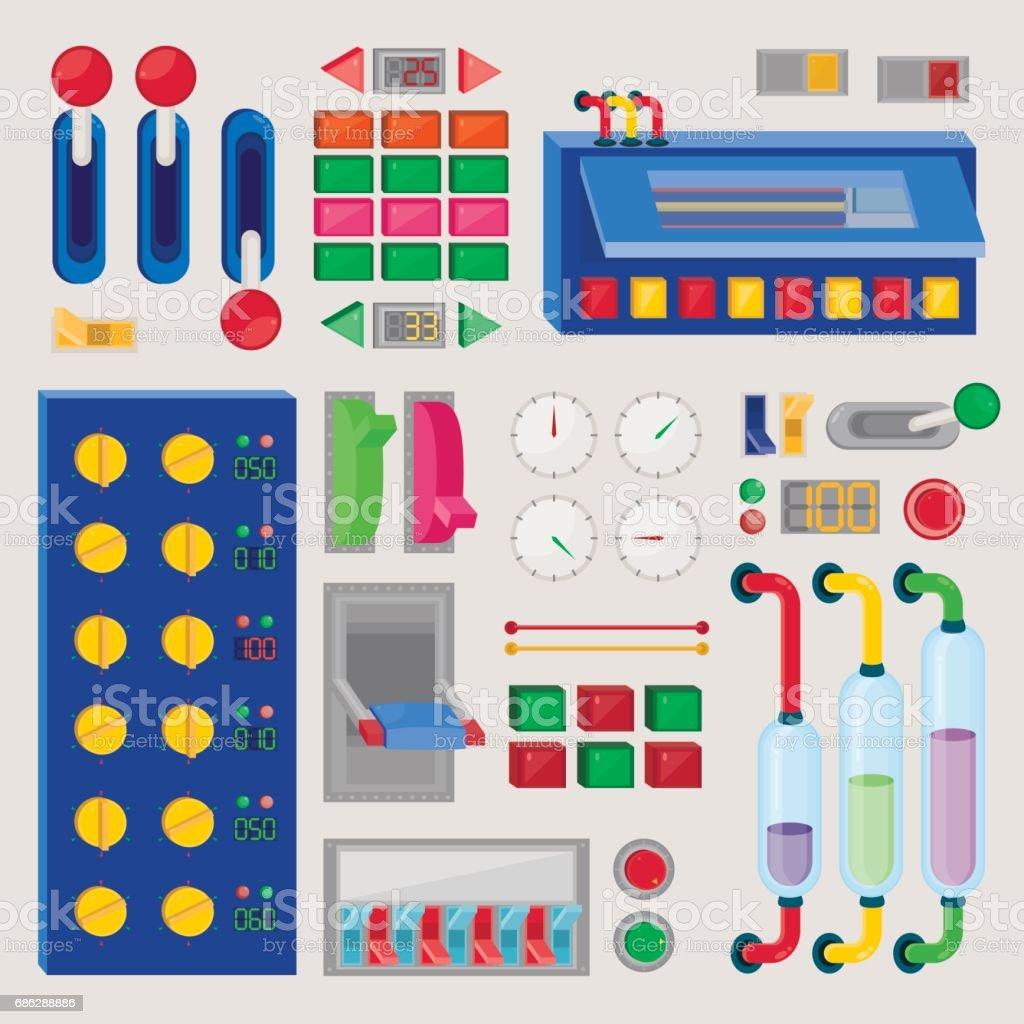 Set of control's button vector art illustration