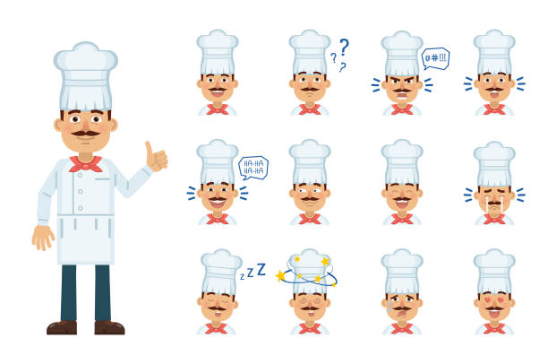 illustrazioni stock, clip art, cartoni animati e icone di tendenza di set of cook character emoticons. cook avatars showing different facial expressions. happy, sad, smile, laugh, cry, think, surprised, tired, in love and other emotions - chef triste