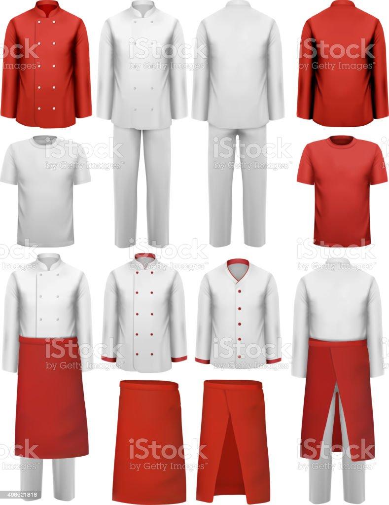 Conjunto de roupas cook-aventais, uniformes. Vetor. - ilustração de arte em vetor