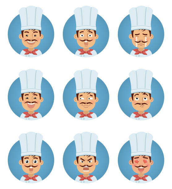 illustrazioni stock, clip art, cartoni animati e icone di tendenza di set of cook emoticons. man avatars showing different emotions. happy, smile, sad, cry, angry, love, surprised, upset, laugh and other facial expressions - chef triste