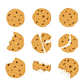 Set of Cookies with chocolate crisps bitten, broken, cookie crumbs in cartoon flat style isolated on white background. Snack bake, traditional bakery or desert.
