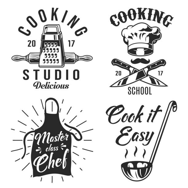 Set of cooking emblem Set of cooking emblem on white background. Vector illustration. grater utensil stock illustrations