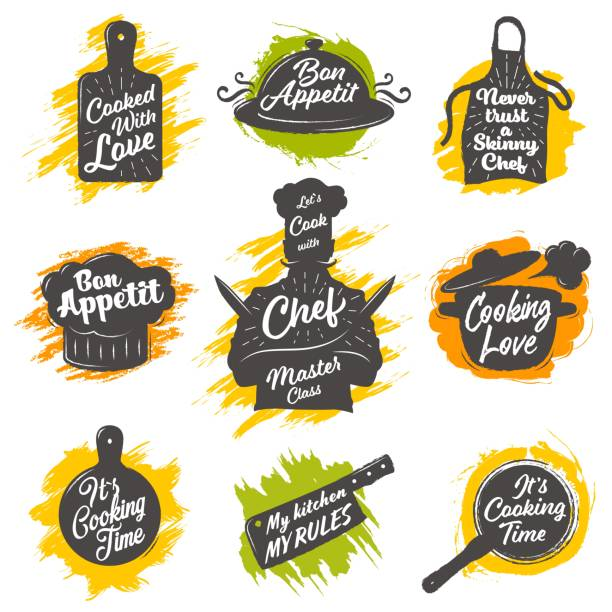 Set of cooking emblem Set of cooking emblem on white background. Vector illustration. cutting board stock illustrations