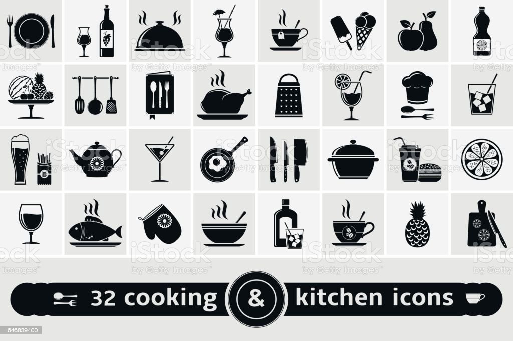 Set of cooking, kitchen tools, food and drinks icons vector art illustration