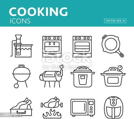 Vector illustration of a colorful group of appliances and food preparation methods icons for recipe symbols for blogs or websites. Includes vector eps 10 and jpg in download.