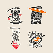 Set of cooking quotes label, typography and handwriting vector