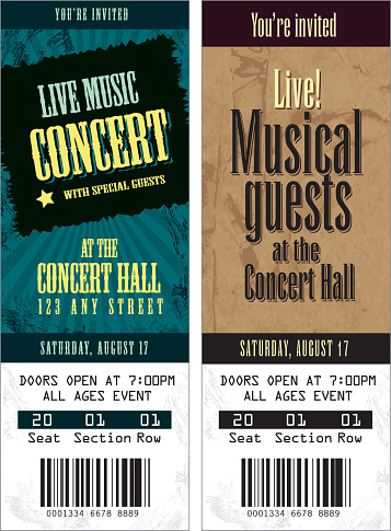 Set of cool concert tickets template