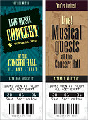 Vector illustration of a two concert tickets. Includes sample text design and design elements. Download includes Illustrator 8 eps, high resolution jpg and png file.