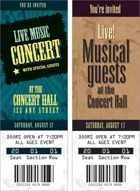 set of cool concert tickets template - tickets and vouchers templates stock illustrations
