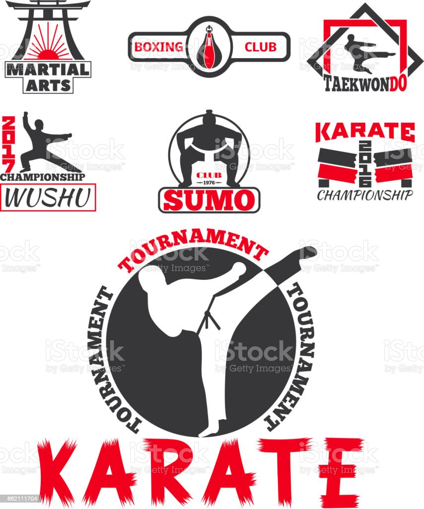 Set of cool fighting club emblems labels fight badges punch sport fist karate vector illustration vector art illustration