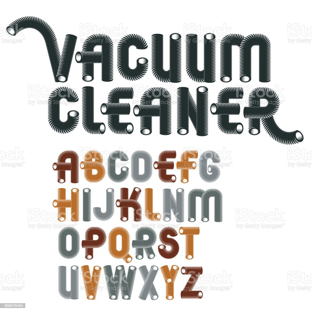 Set Of Cool Vector Upper Case English Alphabet Letters Isolated Trendy Rounded Font Script