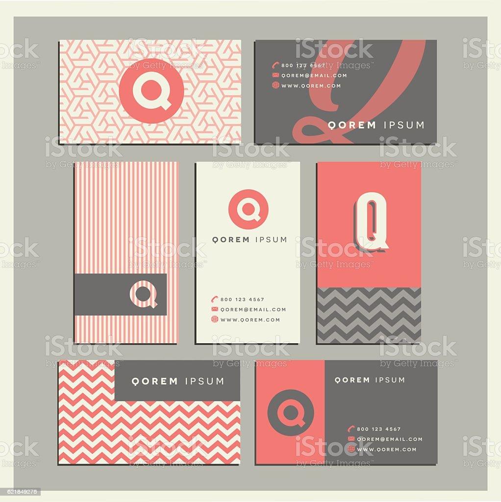 Business Card, Letter Q, Symbol, Text, Chevron Pattern