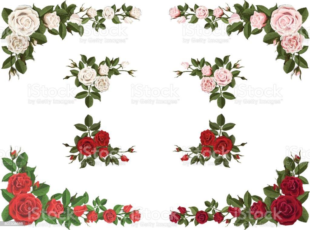 Ensemble De Couleur Differente De Coin Bouquet Roses Cliparts