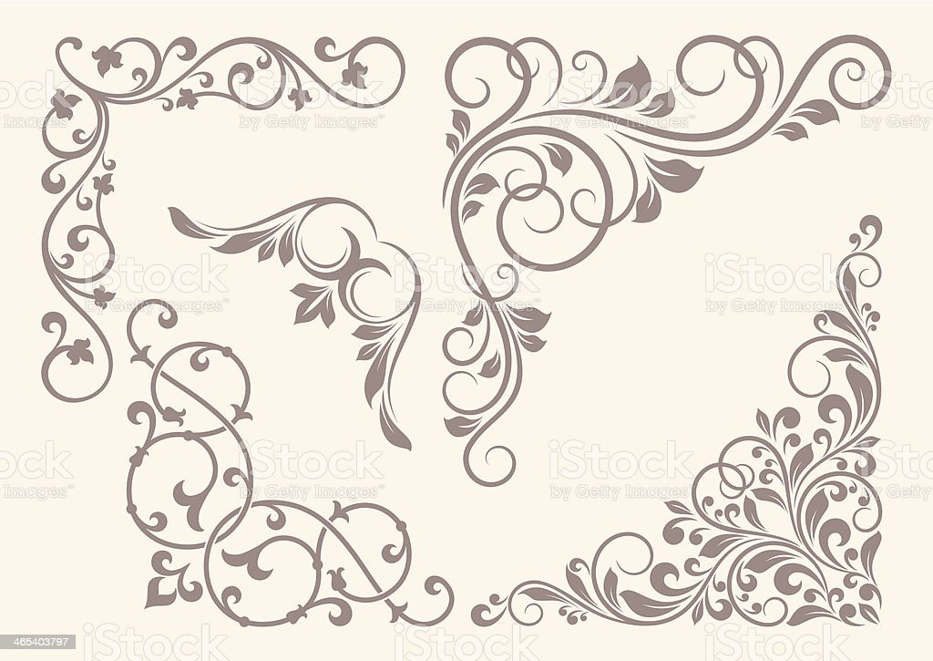 Set of corner ornaments. royalty-free stock vector art