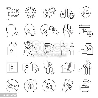 Set of Coronavirus 2019-nCoV Related Line Icons. Editable Stroke. Simple Outline Icons.