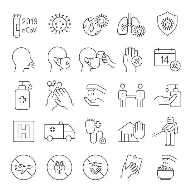 ilustrações de stock, clip art, desenhos animados e ícones de set of coronavirus 2019-ncov related line icons. editable stroke. simple outline icons. - covid 19