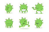 Set of funny coronavirus cartoon characters in different poses. Green viral microorganism. Quarantine situation, Covid-19 virus world pandemic. Flat vector illustration, isolated on white background.