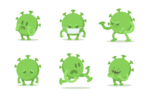 Set of coronavirus cartoon characters in different poses. Green viral microorganism. Quarantine situation, Covid-19 virus world pandemic. Flat vector illustration, isolated on white background.